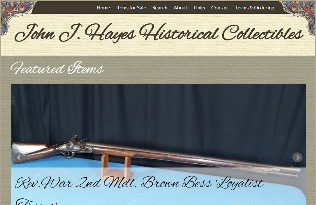 John J Hayes Historical Collectibles Website